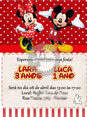 Convite Virtual Mickey e Minnie