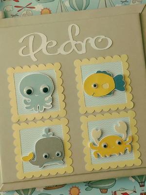 livro bebê personalizado menino fundo do mar scrapbook
