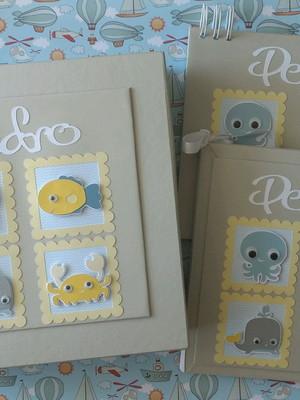 álbum bebê caixa caderno mensagens maternidade fundo mar