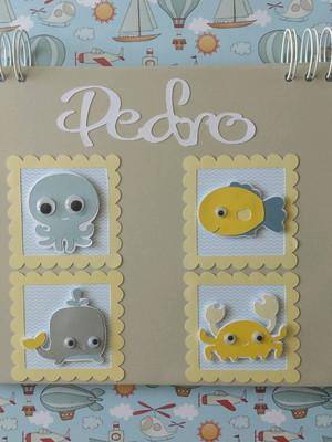 caderno personalizado bebê menino maternidade fundo do mar