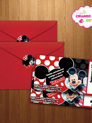 Convite Ingresso Mickey c env e adesivo