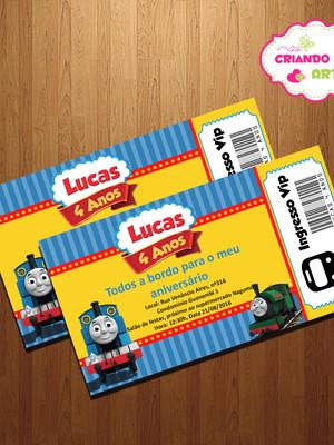 Convite Festa infantil trenzinho Thomas
