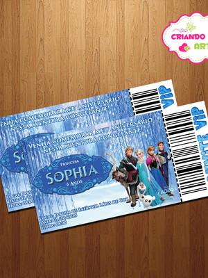 Arte Digital Convite Ingresso Frozen