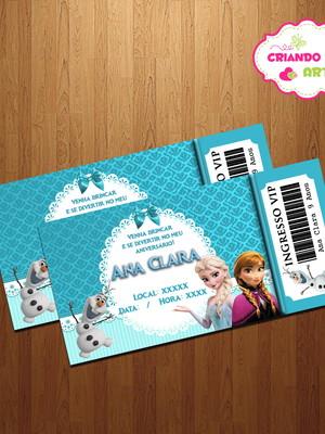 Arte Digital Convite Vip Ingresso Frozen