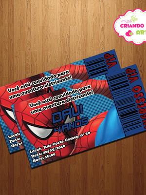 Arte Digital Convite Vip Homem Aranha