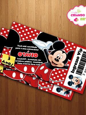 Arte Digital Convite Ingresso Mickey