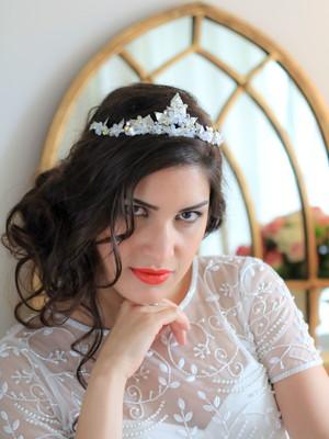 Coroa Noiva Flores Cristal Swarovski