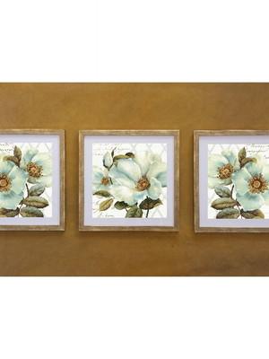 Kit 3 Quadros de Flores com Vidro Tam.: 43 x 43 cm cada