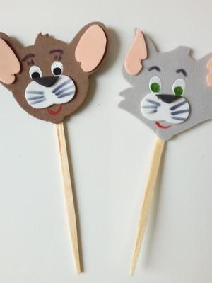 Pacote c/ 50 Toppers Tom e Jerry de EVA