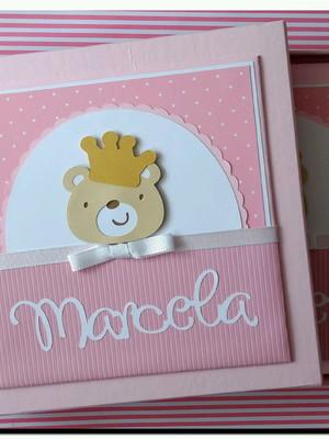Diario bebe Caixa menina ursinha princesa scrapbook rosa