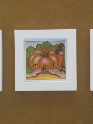 KIT 3 quadros brancos de frutas Tam.: 14 x 14 cm cada