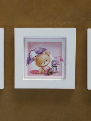 KIT 3 quadros brancos de ursinhos 14cm