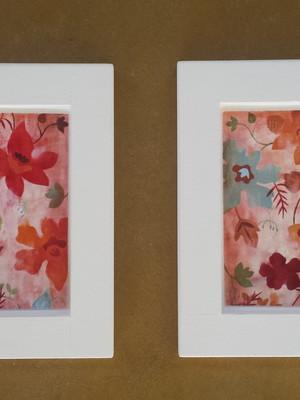 Kit 2 quadros brancos de flores, Tam. 35 x 35 cm cada