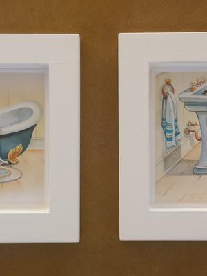 Kit 2 quadros brancos para banheiro 14cm