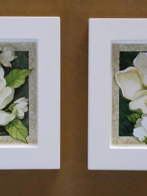 Kit 2 quadros brancos de flores Tam.: 14 x 14 cm cada