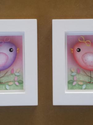 KIT 2 quadros brancos passarinhos -Tam.: 14 cm x 14 cm cada