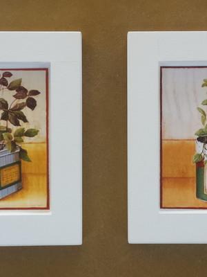 Kit 2 quadros brancos de cozinha 14x14cm