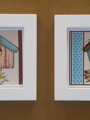 KIT 2 quadros brancos de passarinhos Tam.: 14 x 14 cm cada