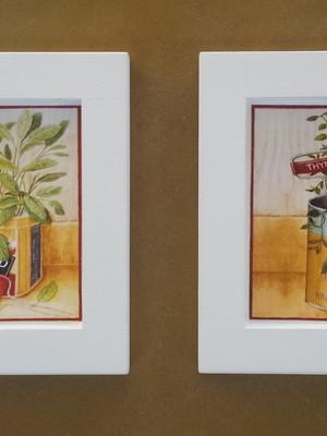 Kit 2 quadros para cozinha - Tam.: 14 x 14 cm cada