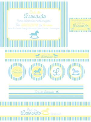 Kit Chá Cavalinho Azul Amarelo - digital