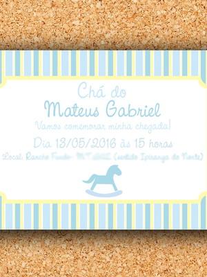 Convite Cavalinho Amarelo Azul - digital