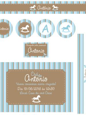 Kit Chá Cavalinho Azul Marrom - digital