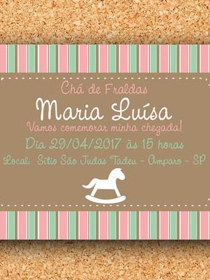 Convite Cavalinho Verde e Rosa - digital