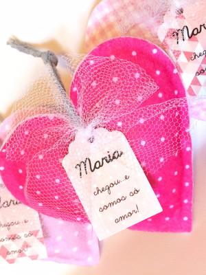Lembrancinha de Maternidade Coração - Sachê de Cabide