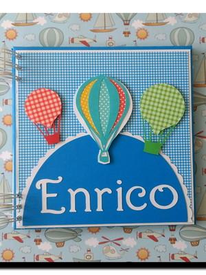 caderno personalizado bebê menino maternidade e chá balão