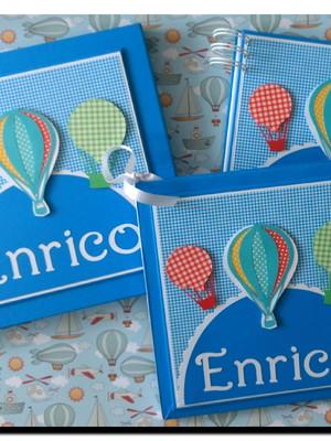 livro bebê menino caixa scrapbook mensagens fotos balão