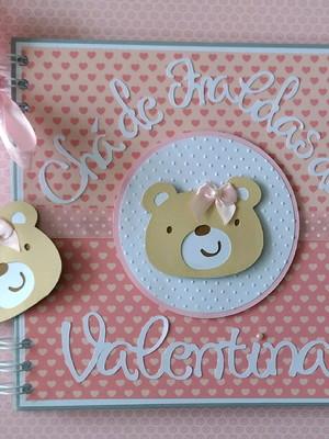 caderno personalizado mensagens fotos scrapbook Ursinha Fofa