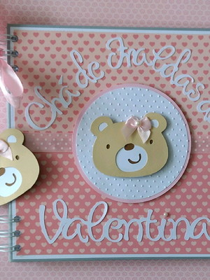caderno personalizado mensagens fotos bebê menina ursa scrap