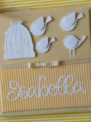 livro diário bebê neutro personalizado passarinhos scrapbook