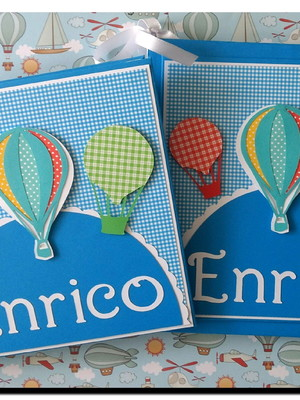 livro bebê e caderno mensagens e fotos scrapbook balões