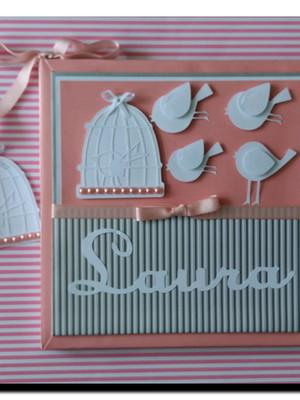 livro do bebê menina passarinhos rosa e cinza scrapbook