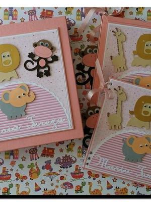 álbum diário livro bebê caderno mensagens menina safári rosa