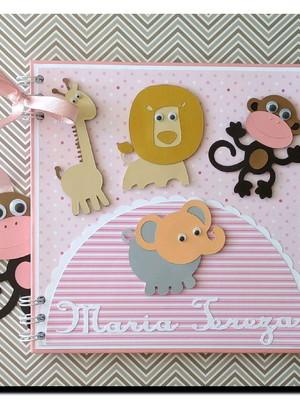caderno personalizado bebê menina maternidade safári rosa