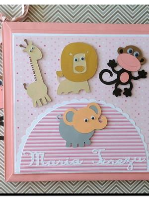 Livro do bebê + scrapbook Safári rosa personalizado menina