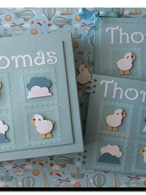 livro diário bebê personalizado menino ovelhinha scrap azul