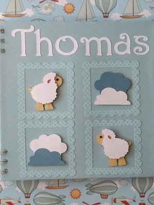 caderno personalizado bebê menino maternidade chá ovelha