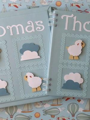 livro bebê e caderno personalizado menino scrap ovelhinha