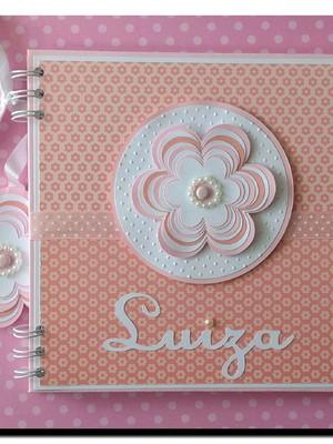 caderno personalizado bebê menina chá maternidade florzinha