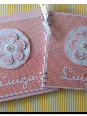 livro bebê menina e caderno maternidade chá florzinha scrap
