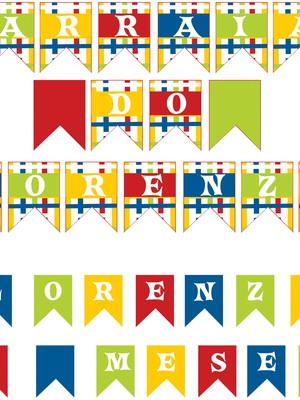 Bandeirinha Painel + Topo de bolo Junina - Digital