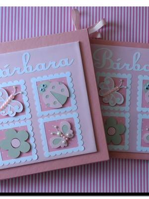 Livro Do Bebê e Caixa Jardim Encantado scrapbook rosa cinza