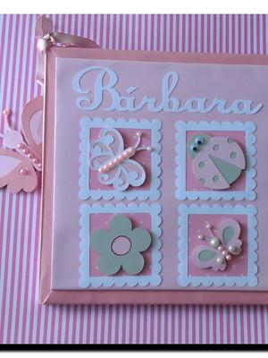 livro diário álbum bebê menina jardim encantado rosa e cinza