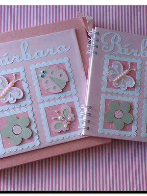 caderno personalizado menina jardim Caixa rosa e cinza scrap