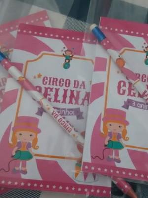 Bloquinho e Lápis Circo Rosa ou qualquer tema