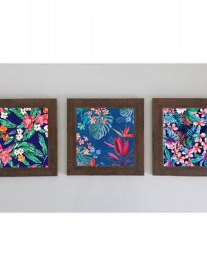 Trio de Quadros De Flores com Vidro