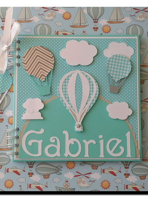 caderno personalizado bebê menino maternidade chá balões nuv